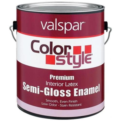 Valspar Brand 1 Gallon White ColorStyle Interior Latex Semi Gloss Enamel Paint - Pack of 4