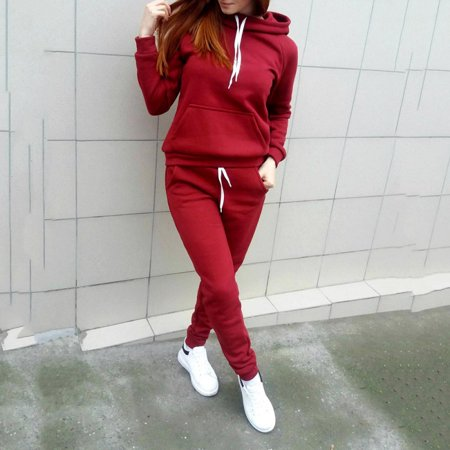 MarinaVida Women's Hooded Solid Color Casual Suit Jacket + Pants Autumn and Winter (Coat 30 Pants)