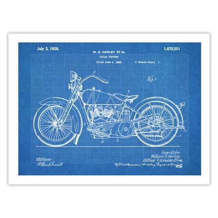 Harley Davidson Motorcycle Poster 1928 Patent Art Handmade Giclée Gallery Print Blueprint (18