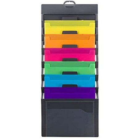 Wall File Folder Organizer 6 Pocket Hanging Cascading Letter Size Multi Color