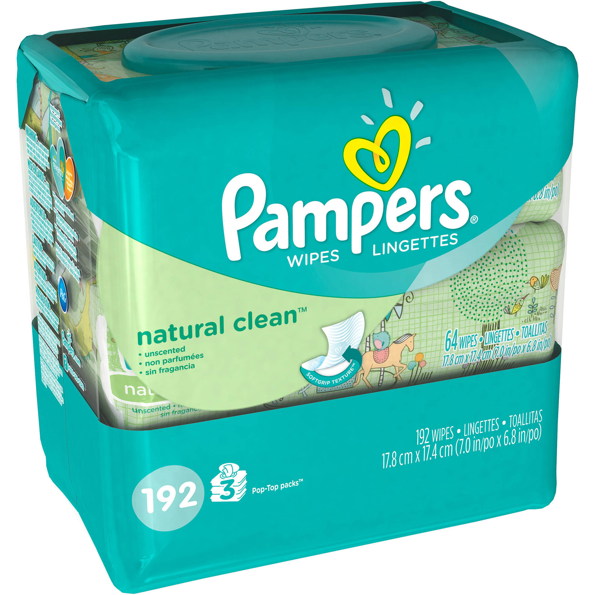 Pampers Natural Clean Baby Wipes, 64 sheets, 3 count