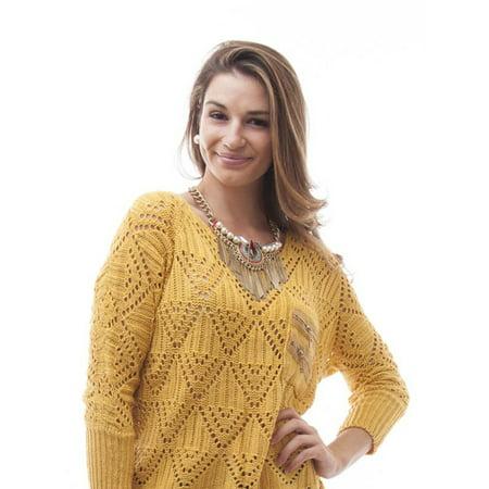 1ec816ceb SOHO - Women Boxy Open Knit Sweater (One Size) - Yellow - Walmart.com