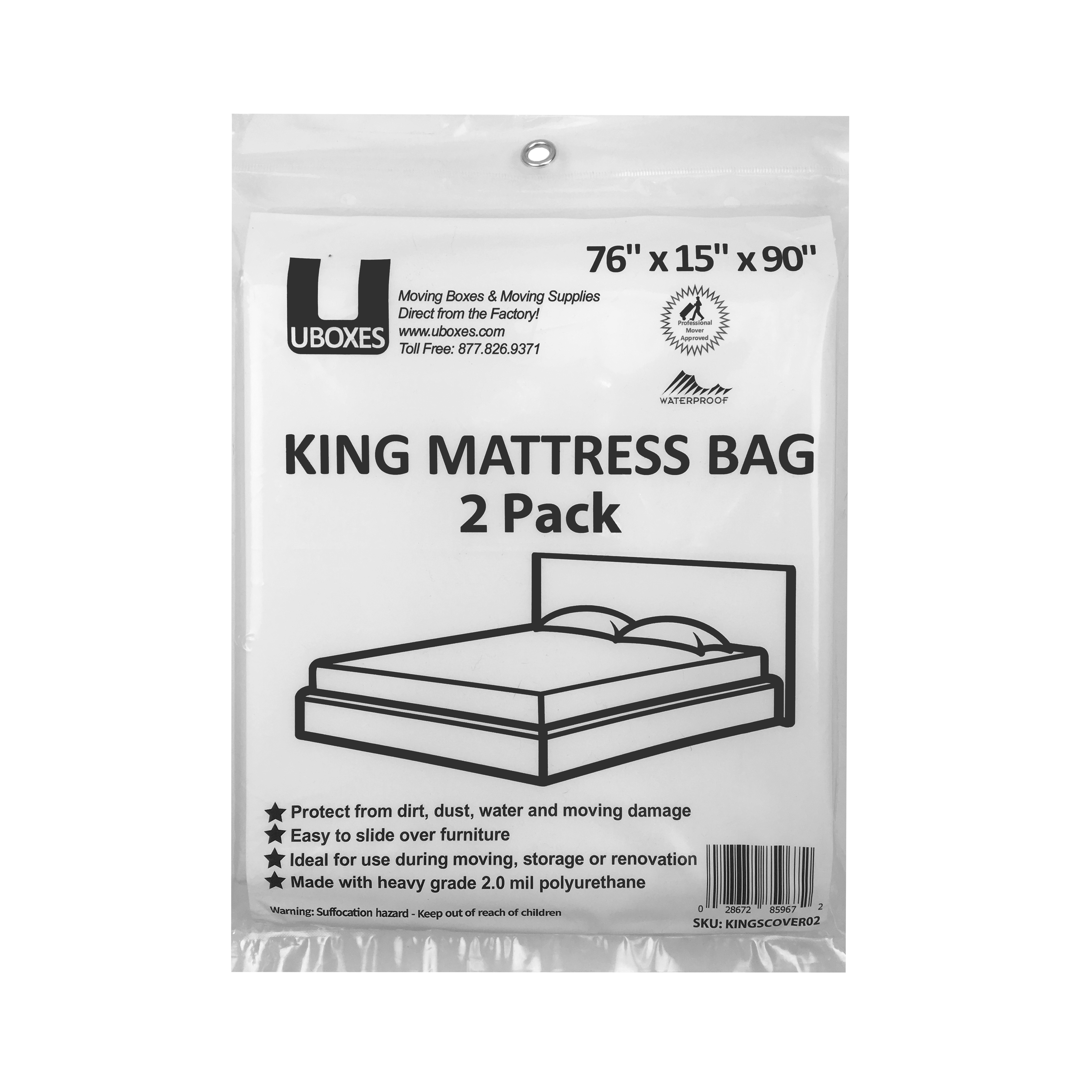 Uboxes King Mattress Poly Covers, 76 x 15 x 90 in, 2 Pack