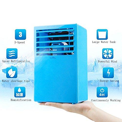 Madoats Mini Portable Air Conditioner Fan Small Desktop Fan Quiet Personal  Table Fan Mini Evaporative Air Circulator Cooler Humidifier - Blue
