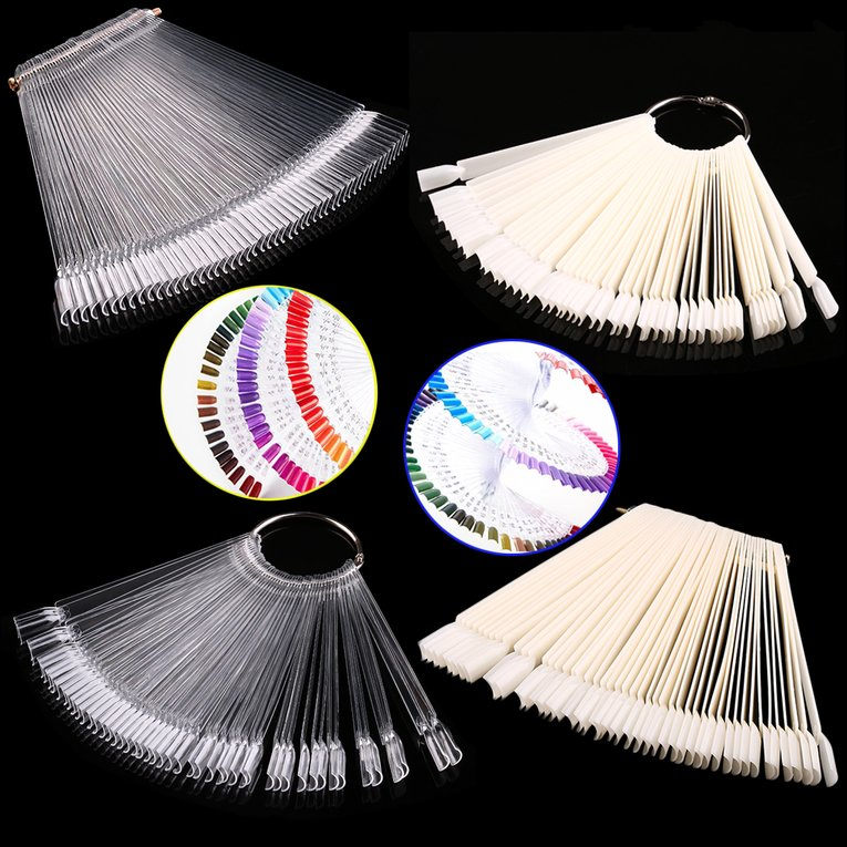 False Display Nail Art Fan Wheel Polish Practice Tip Sticks Nail Art 50pcs