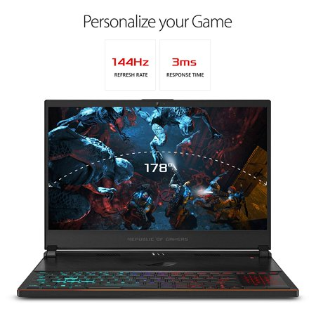 "ASUS ROG Zephyrus S Ultra Slim Gaming PC Laptop, 15.6"" 144Hz IPS-Type, Intel i7-8750H Processor, GeForce GTX 1070, 16GB DDR4, 512GB NVMe SSD, Military-grade Metal Chassis Notebook"
