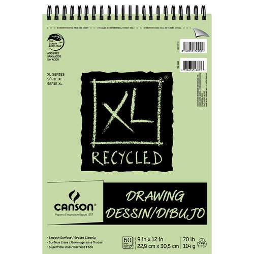 "Canson XL 9"" x 12"" Top Wire Recycled Drawing Pad, 60 Sheets"