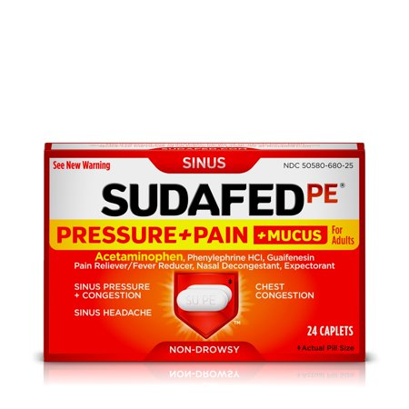 Sudafed PE Sinus Pressure + Pain + Mucus and Congestion Relief, 24