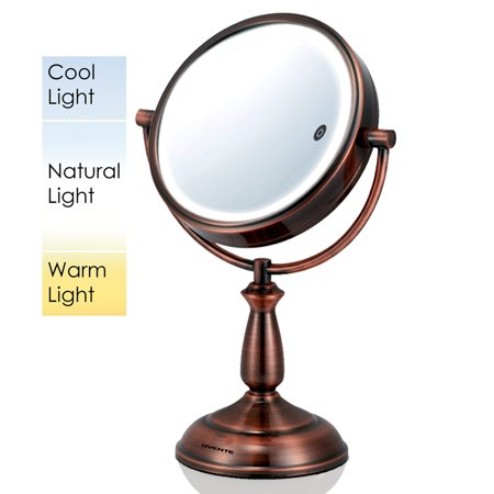 Ovente Dual Sided Lighted Makeup Mirror With Timer  8 5 Inch  Battery Or Cord Operated  Smarttouch With 3 Light Tones  Cool  Warm  Natural Daylight  1X 10X Magnification  Antique Copper  Mpt85co1x10x