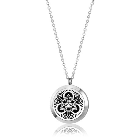 Celtic Round Silver Aromatherapy Oil Lockets Jewelry Essential Oil Diffuser Necklace for Women with Gift Box ()