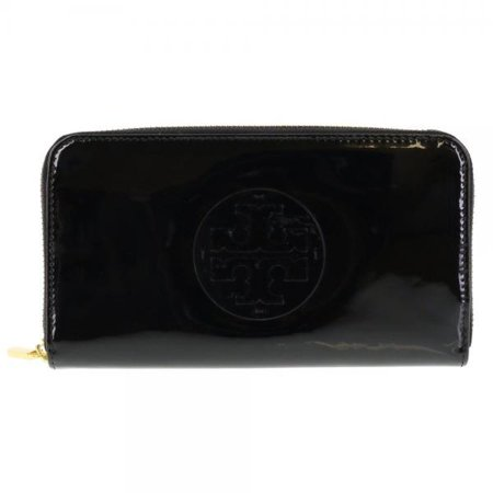 Tory Burch Stacked Patent Zip Around Continental Wallet In Black