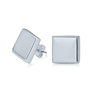 Geometric Simple Flat Square Polished Stud Earrings for Men for Women 925 Sterling Silver 13MM