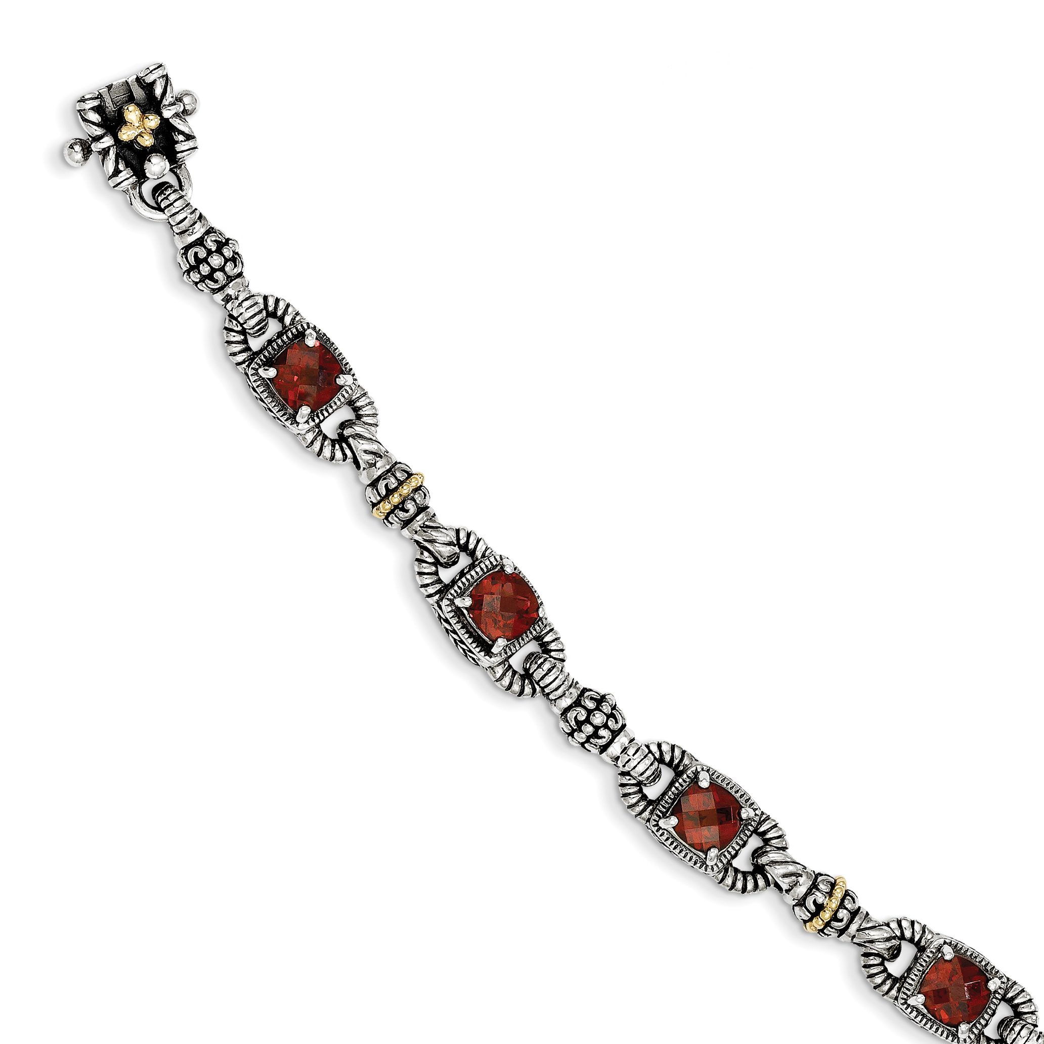 Sterling Silver w 14k Cushion-cut Garnet Bracelet by Saris and Things QG