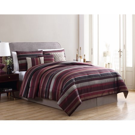 Mainstays Griffith Jacquard Stripe Red 7-Piece Comforter Set, King