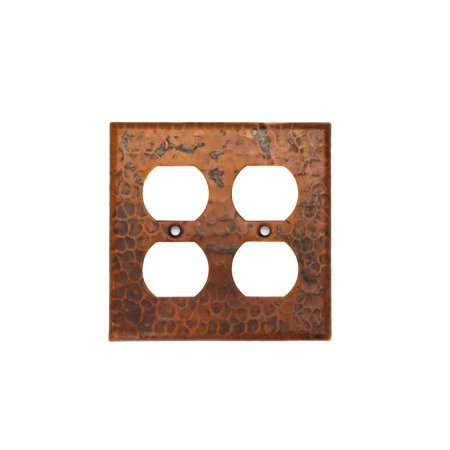 Premier Copper Products - Copper Switchplate Double Duplex, 4 Hole Outlet Cover (Hose Outlet Cover)
