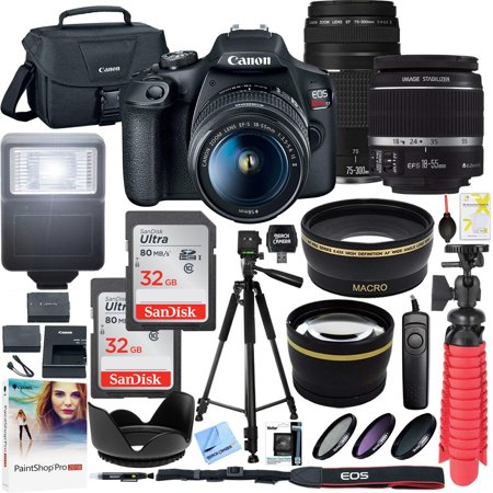 Canon T7 EOS Rebel DSLR Camera with EF-S 18-55mm f/3.5-5.6 IS II and EF 75-300mm f/4-5.6 III Lens and Two (2) 32GB SDHC Memory Cards Plus Double Battery Accessory