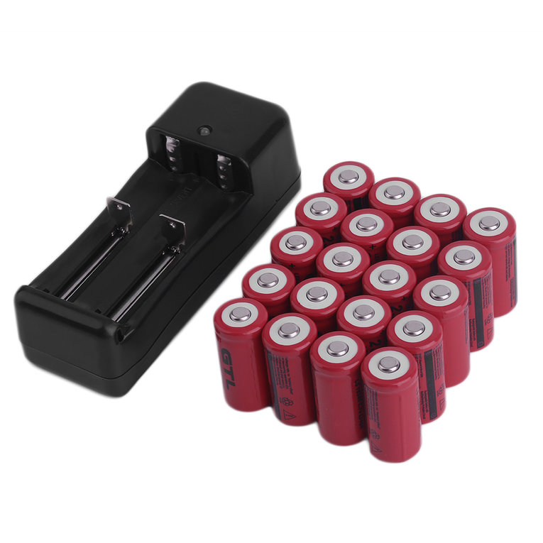20Pcs 2300mAH Li-ion 16340 CR123A Rechargeable Battery Cell & Smart Charger