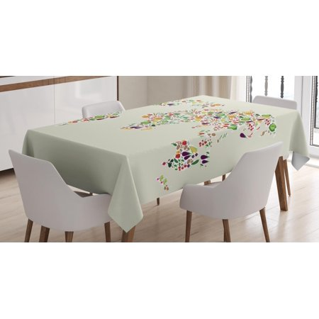 Vegan Tablecloth, Map of the World Designed with Multiple Vegetables Vegetarian and Healthy Planet, Rectangular Table Cover for Dining Room Kitchen, 60 X 84 Inches, Multicolor, by Ambesonne