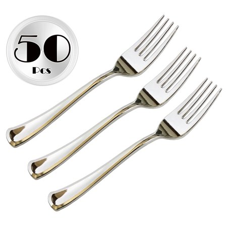 JL Prime 50 Piece Silver Plastic Forks Bulk Set, Silver Plastic Cutlery Set, Heavy Duty Utensils for Party & Wedding, Disposable Silver Flatware, Silver Plastic Forks 50 Pack Sterling Silver 50 Piece