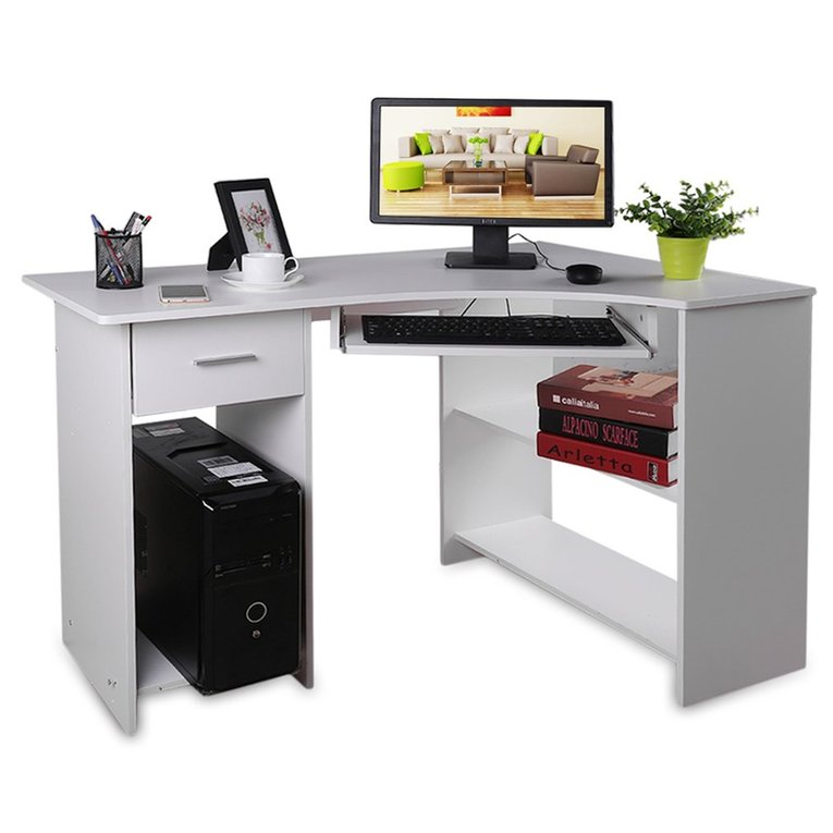 Computer Table Office Home Study Workstation Corner Desk With Keyboard Tray(brown)