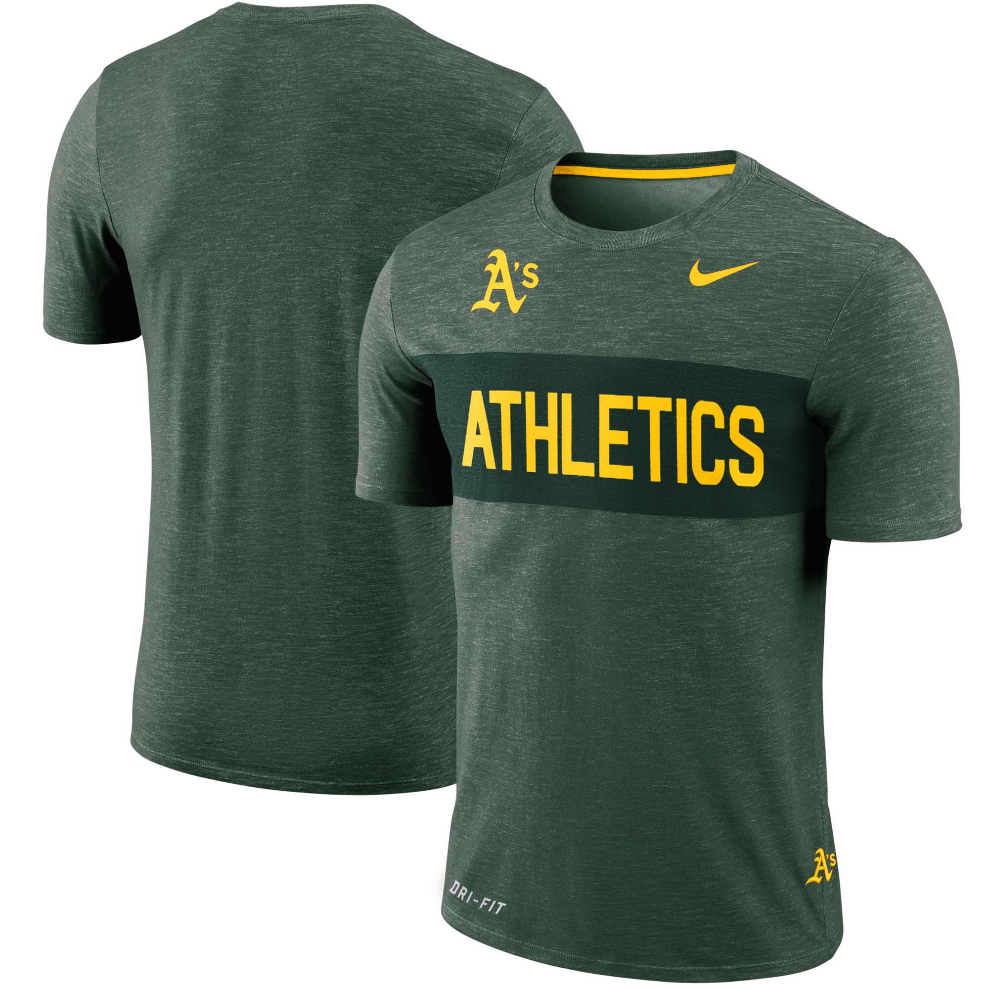 Oakland Athletics Nike Slub Stripe Performance T-Shirt - Green
