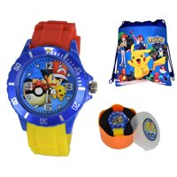 Gift Set Pokemon Pikachu Quartz Analog Watch For Boys Girls Children. Large Modern Display.