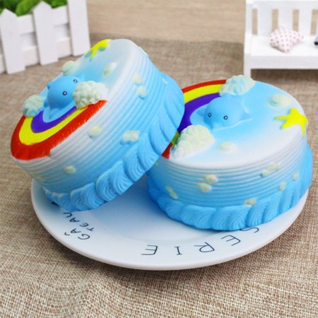 Simulate Cute Squishy Squeeze Toy Cake Slow Rising Stress Reliever Toy Mid-Autumn Festival Halloween Christmas Birthday Gift Ornament Color:blue