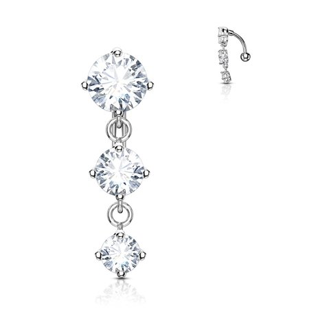 Surgical Steel Sexy Dangle Reverse Mount Triple CZ Vertical Drop Belly Button Ring ()
