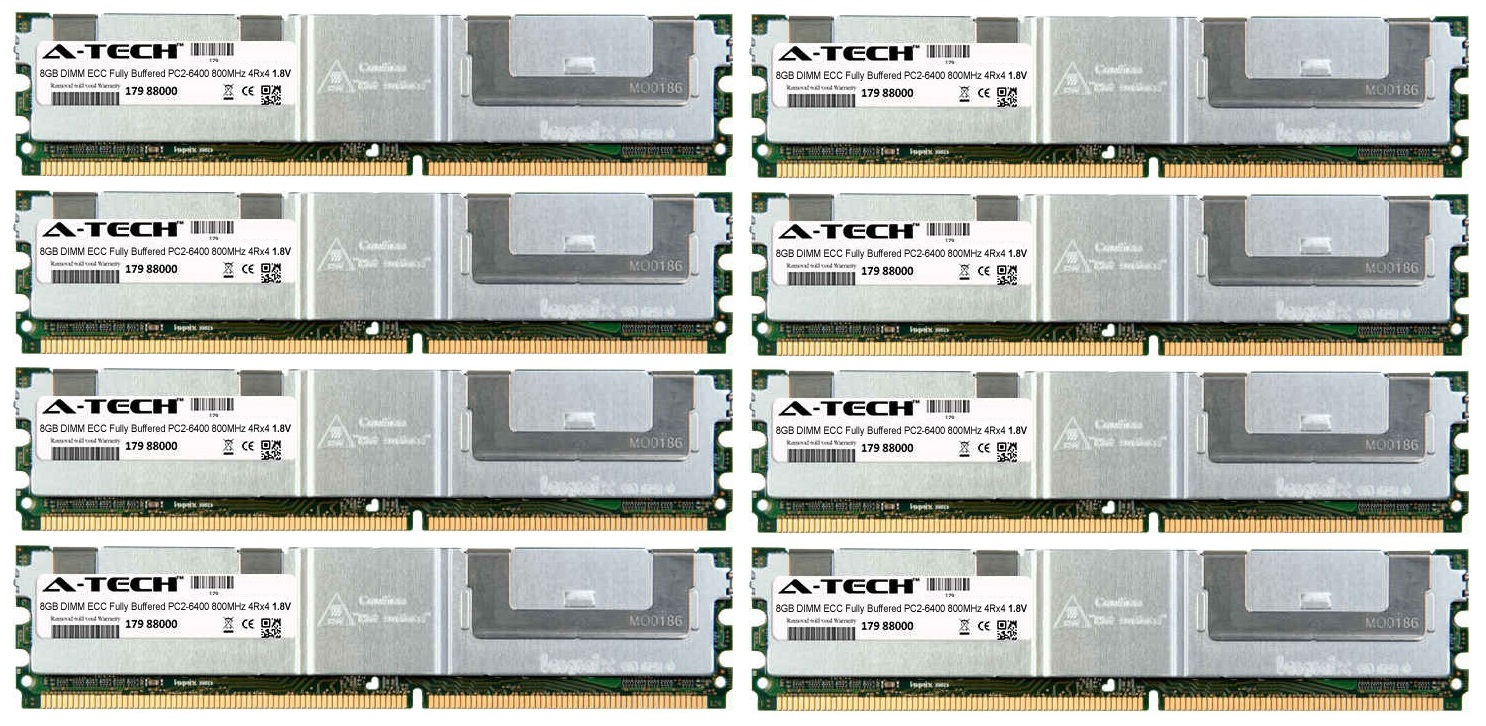 64GB Kit 8x 8GB Modules PC2-6400 800MHz 1.8V 4Rx4 ECC Fully Buffered DDR2 DIMM Server 240-pin Memory Ram