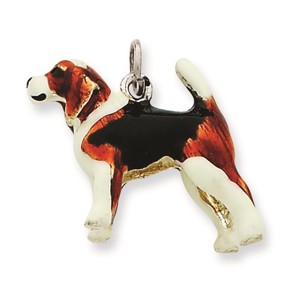 925 Sterling Silver Enameled Beagle 3-D Solid Charm Pendant