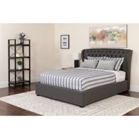 Flash Furniture Barletta Tufted Upholstered King Size Platform Bed in Dark Gray Fabric with Memory Foam Mattress