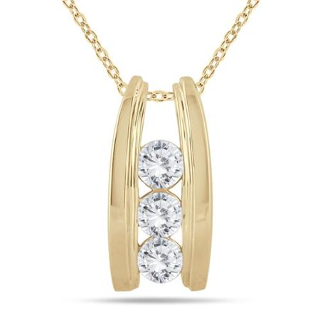 Marquee Jewels  14K Yellow Gold 1Ct Tdw Diamond Ladder 3 Stone Necklace