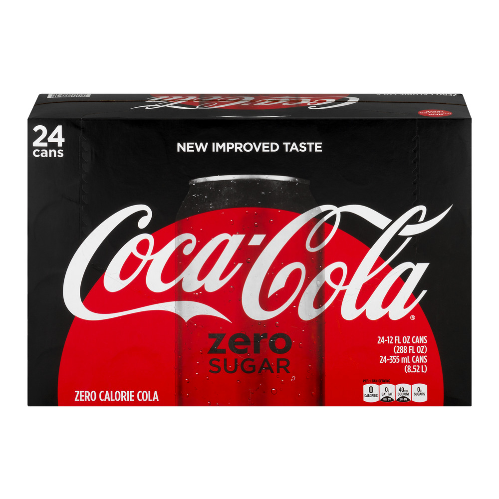 coca cola zero sugar soda 12 fl oz 24 count walmartcom