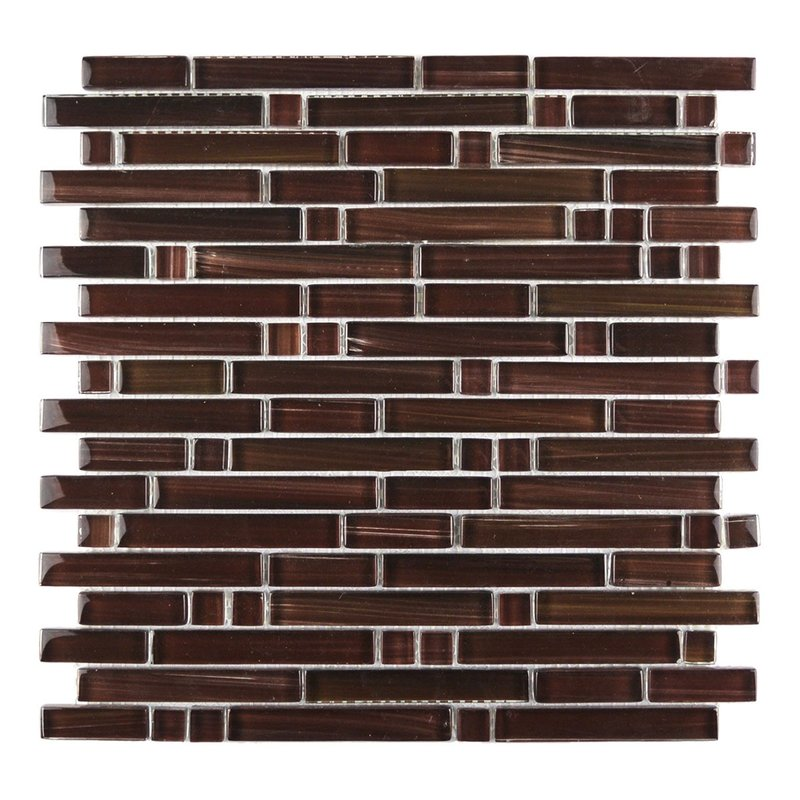 Handicraft II Random Sized Glass Mosaic Tile in Glazed Chocolate (11sqft / 11pc Box)