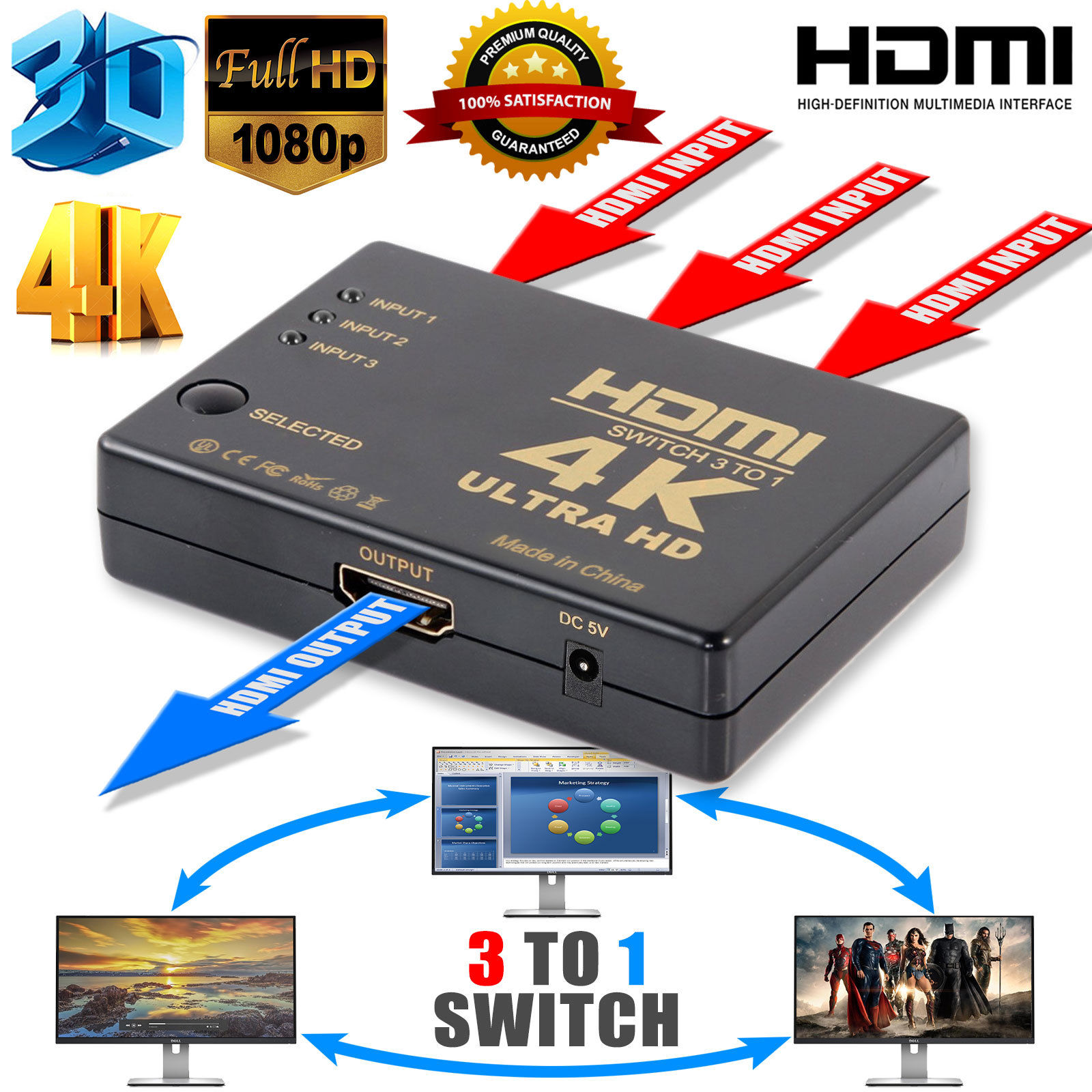 TSV Ultra HD 3Port 3x1 HDMI Switcher 4Kx2K 1080P 3D Switch Selector With IR Remote