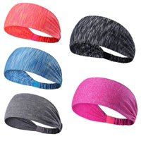 MINI-FACTORY Sport Headband for Yoga/Running/Cycling/Exercise Elastic Sweatband Hair Wrap (Pack of 5)