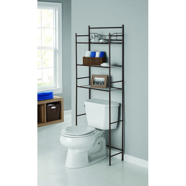 Mainstays 3-Shelf Bathroom over the Toilet Space Saver with Liner, Oil Rubbed Bronze