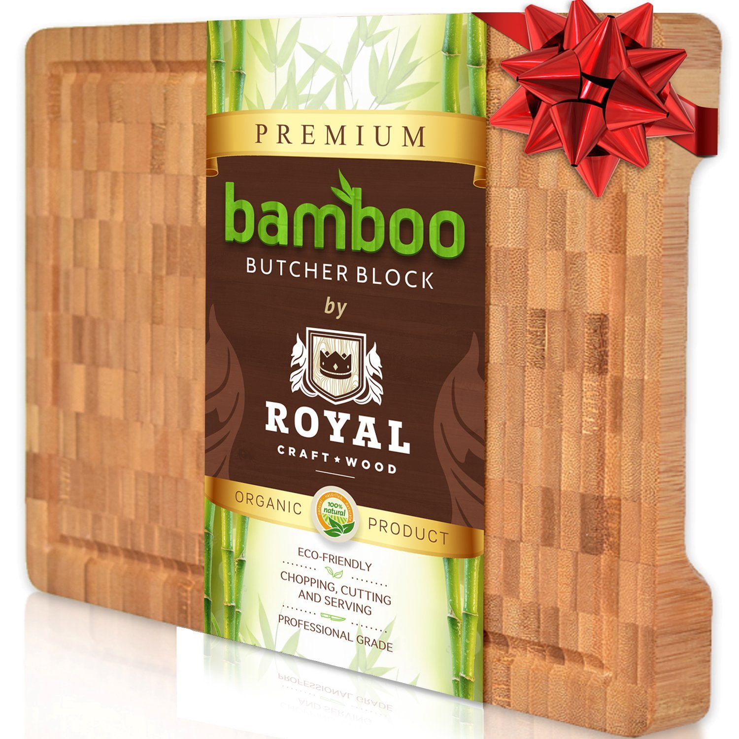 Thick End Grain Cutting Board - Butcher Block for Kitchen with Juice Groove and Handles by Royal Craft Wood