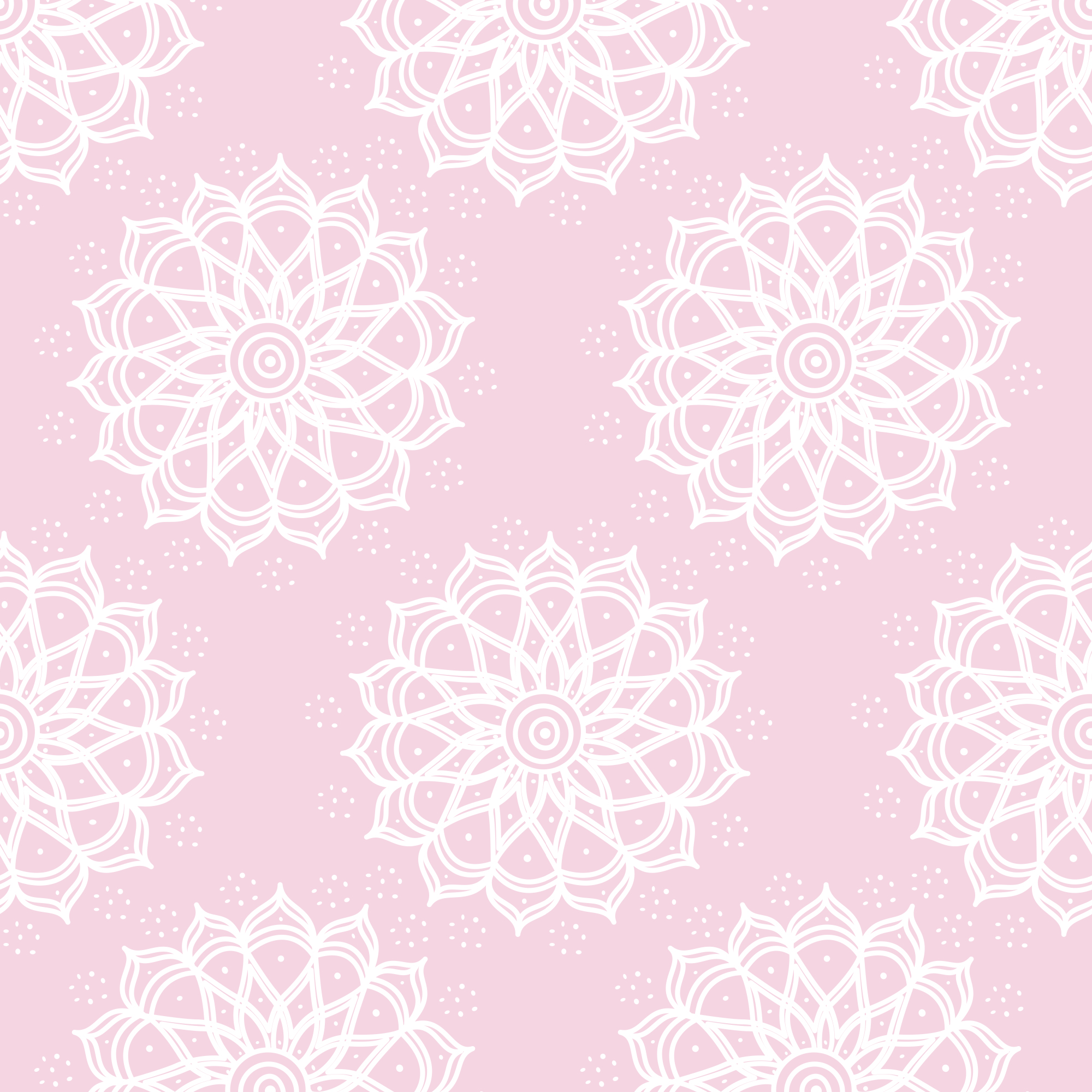 "Emma & Mila Cotton Flannel 42"" Mandala Pink Fabric, per Yard"