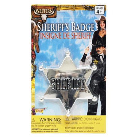 Sheriff Badge Silver Costume - Costume Badges