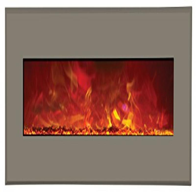 """43"""" Electric Unit Fireplace 51"""" x 23"""" Architects Gray Steel Surround"""