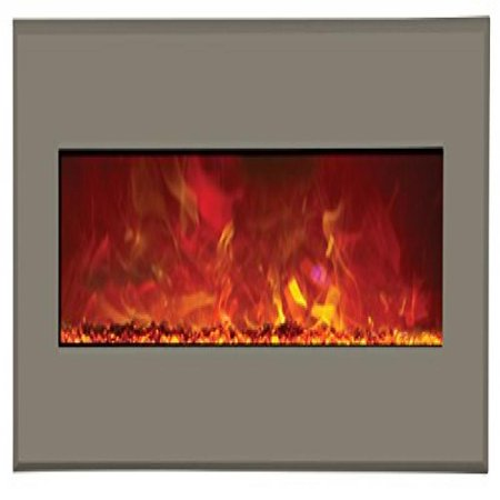 "43"" Electric Unit Fireplace 51"" x 23"" Architects Gray Steel Surround"