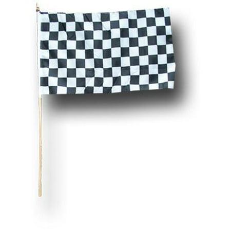 "Checkered - 12""X18"" Stick Flag (wooden staff)"