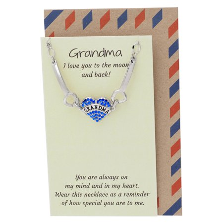Handmade Grandmas Jewelry, Grandmother Bangle Bracelet with Engraved Grandma and Heart Shaped Lobster Charm, Best Gift for