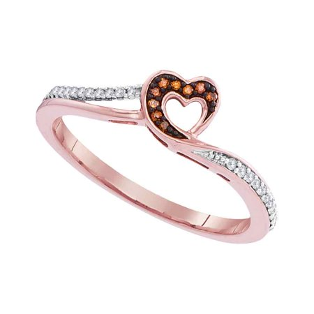 10kt Rose Gold Womens Round Red Colored Diamond Heart Love Ring 1/10 Cttw
