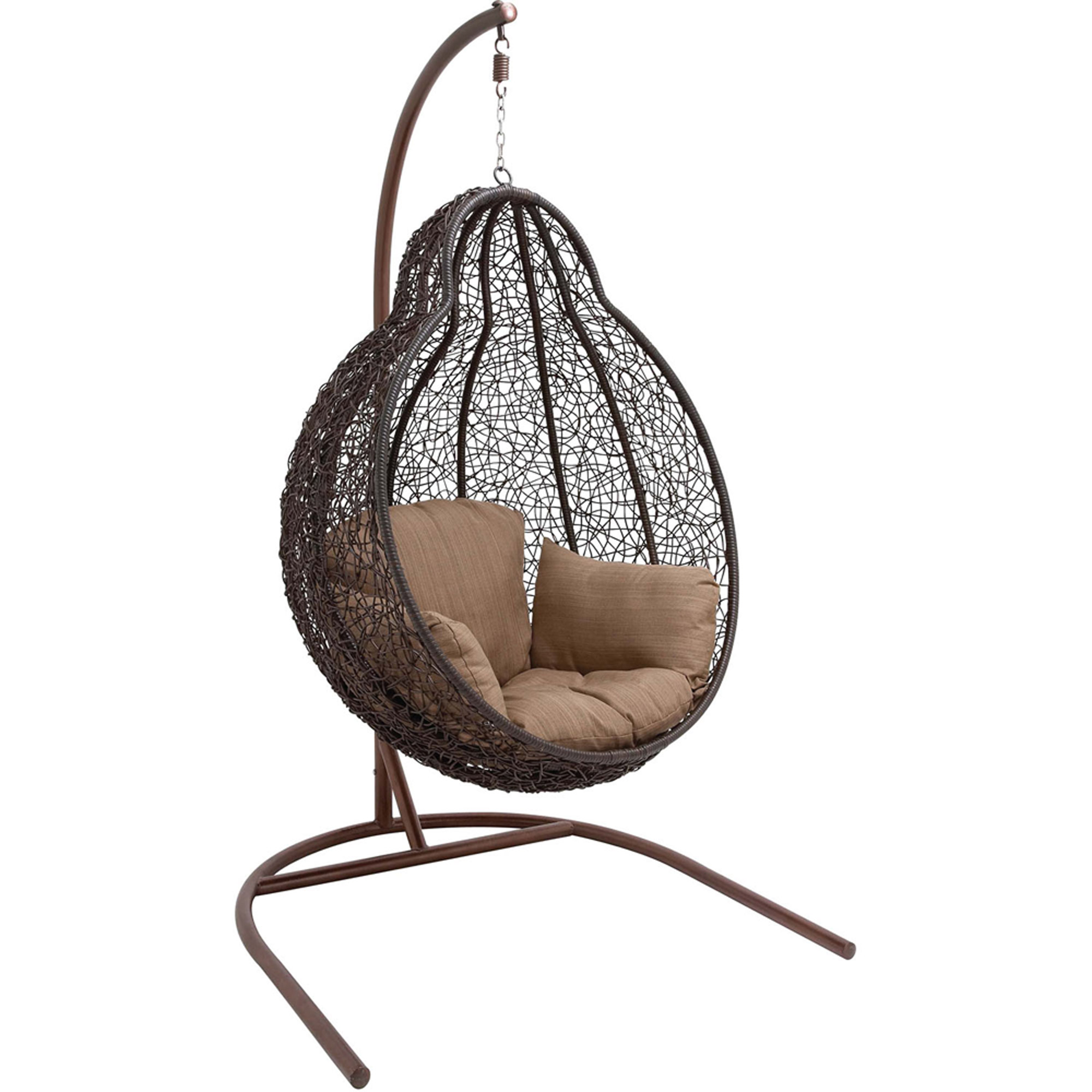 Wicker egg chair - Hanover Egg Swing04 Outdoor Wicker Rattan Hanging Egg Chair Swing Brown Tan Walmart Com