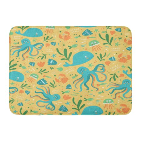 GODPOK Aquatic Sea Cute Marine Underwater Creatures Flat Design Animals Colorful Kiddie Beautiful Aquarium Rug Doormat Bath Mat 23.6x15.7 inch - Colorful Sea Creatures