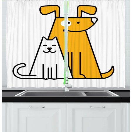 Cartoon Curtains 2 Panels Set, Cats and Dogs Human Best Friends Forever Kids Nursery Room Art Print, Window Drapes for Living Room Bedroom, 55W X 39L Inches, Black White and Apricot, by