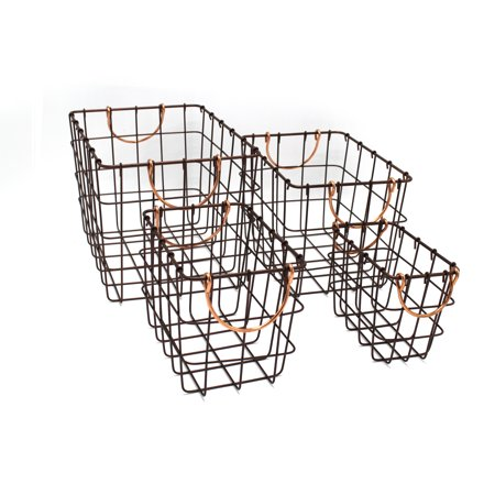 - Handcrafted 4 Home Rectangular Metal Wire Nesting Baskets, Chocolate Color (Set of 4)