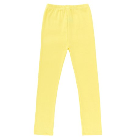 Simplicity Kid's Cropped Seamless Leggings Stretch Waist, Yellow ML ()
